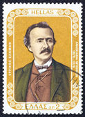 """GREECE - CIRCA 1976: A stamp printed in Greece from the """"100 years from Mycenae excavations"""" issue shows German archaeologist Heinrich Schliemann, circa 1976. — Stock Photo"""