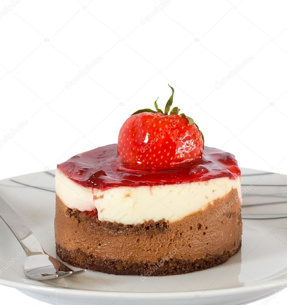 Small cake with chocolate and strawberry isolated  Stock Photo #12644371