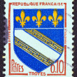 "Stock Photo: FRANCE - CIRC1963: stamp printed in France from ""Arms of French Towns 4th Series"" issue shows Troyes coat of Arms, circ1963."