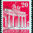 GERMANY - CIRCA 1948: A stamp printed in Germany (British and American Zones) shows Brandenburg Gate, circa 1948. - Stock Photo