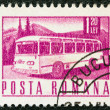 ROMANIA - CIRCA 1967: A stamp printed in Romania shows a Motor coach, circa 1967. - Stock Photo