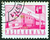 ROMANIA - CIRCA 1967: A stamp printed in Romania shows an Electric train, circa 1967. — Stock fotografie