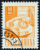 ROMANIA - CIRCA 1967: A stamp printed in Romania shows a telephone handset, circa 1967. — Zdjęcie stockowe