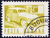 ROMANIA - CIRCA 1967: A stamp printed in Romania shows a Postal van, circa 1967. — Zdjęcie stockowe