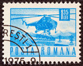 ROMANIA - CIRCA 1967: A stamp printed in Romania shows a Mil Mi-4 helicopter, circa 1967. — Stock Photo