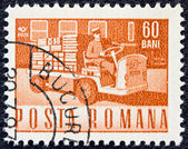 ROMANIA - CIRCA 1967: A stamp printed in Romania shows an Electric parcels truck, circa 1967. — Stock Photo