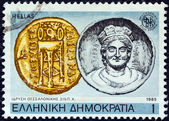"""GREECE - CIRCA 1985: A stamp printed in Greece from the """"2300th anniversary of Thessaloniki city"""" issue shows coin of King Cassander (315 B.C.) and Salonika, circa 1985. — Stock Photo"""