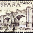 """SPAIN - CIRCA 1969: A stamp printed in Spain from the """"Explorers and Colonizers of America (9th series)"""" issue shows Cal y Canto Bridge, Chile, circa 1969. — Stock Photo"""