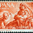 "SPAIN - CIRCA 1961: A stamp printed in Spain from the ""World Refugee Year"" issue shows The Flight to Egypt (after Bayeu), circa 1961. — Stock Photo"