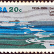 Stock Photo: USA - CIRCA 1984: A stamp printed in USA from the issued for the 25th anniversary of Saint Lawrence Seaway shows Saint Lawrence Seaway, circa 1984.