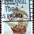 "USA - CIRCA 1984: A stamp printed in USA from the ""Explorers. 400th anniversary of first Raleigh Expedition to Roanoke Island, North Carolina"" issue shows Galleon Elizabeth, circa 1984. — Stock Photo"