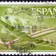 SPAIN - CIRCA 1955: A stamp printed in Spain shows Air Lockheed L-1049 Super Constellation aircraft and Caravel, circa 1955. — Stock Photo