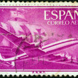 Stock Photo: SPAIN - CIRC1955: stamp printed in Spain shows Air Lockheed L-1049 Super Constellation aircraft and Caravel, circ1955.