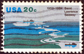 USA - CIRCA 1984: A stamp printed in USA from the issued for the 25th anniversary of Saint Lawrence Seaway shows Saint Lawrence Seaway, circa 1984. — Foto Stock