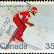 CANADA - CIRCA 1980: A stamp printed in Canada issued for the Winter Olympic Games, Lake Placid shows a skier, circa 1980. — Stock Photo