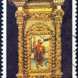 "GREECE - CIRCA 1981: A stamp printed in Greece from the ""Bell towers and altar screens"" issue shows St. Jacob icon, church museum, Alexandroupolis, circa 1981. — Stock Photo"