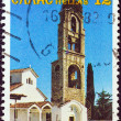 "GREECE - CIRCA 1981: A stamp printed in Greece from the ""Bell towers and altar screens"" issue shows Bell tower, Saints Constantine and Helen Church, Halkiades, Epirus, circa 1981. — Stock Photo"