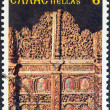"GREECE - CIRCA 1981: A stamp printed in Greece from the ""Bell towers and altar screens"" issue shows altar gate, St. Paraskevi church, Metsovo, circa 1981. — Stock Photo"