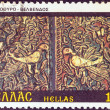 "GREECE - CIRCA 1981: A stamp printed in Greece from the ""Bell towers and altar screens"" issue shows altar screen, St. Nicholas Church, Velvendos, circa 1981. — Stock Photo"