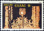 "GREECE - CIRCA 1981: A stamp printed in Greece from the ""Bell towers and altar screens"" issue shows altar gate, Pelion, circa 1981. — Stock Photo"