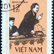VIETNAM - CIRCA 1972: A stamp printed in North Vietnam issued for the 90th birth anniversary of Bulgarian statesman Georgi Dimitrov shows Dimitrov at Leipzig court, 1933, circa 1972. — Stock Photo