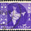 Royalty-Free Stock Photo: INDIA - CIRCA 1957: A stamp printed in India shows the map of India, circa 1957.