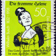 Stock Photo: GERMANY - CIRC1982: stamp printed in Germany issued for 150th Birth anniversary of writer and illustrator Wilhelm Busch shows Good Helene, circ1982.