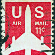 Royalty-Free Stock Photo: USA - CIRCA 1971: A stamp printed in USA shows a Jet Silhouette, circa 1971.