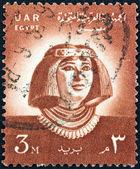 EGYPT - CIRCA 1958: A stamp printed in Egypt shows Princess Nofret statue, circa 1958. — Stock Photo
