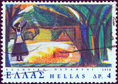 "GREECE - CIRCA 1978: A stamp printed in Greece from the ""The Twelve Months, Greek fairy tale"" issue shows a drawing of the poor woman and the gold coins, circa 1978. — Stock Photo"