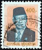 INDONESIA - CIRCA 1981: A stamp printed in Indonesia shows a portrait of president Suharto, circa 1981. — Stock fotografie