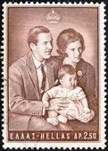 """Grecia - circa 1966: un sello impreso en grecia desde el """"cumpleaños de la princesa alexia primero"""" edición muestra la familia real, circa 1966. — Foto de Stock"""