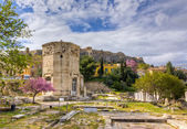 Tower of the Winds, Acropolis in background, Athens, Greece — Stock Photo