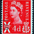 Stock Photo: UNITED KINGDOM - CIRC1958: postage stamp printed in Scotland shows portrait of queen Elizabeth II, circ1958.