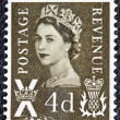 UNITED KINGDOM - CIRCA 1958: A postage stamp printed in Scotland shows a portrait of queen Elizabeth II, circa 1958. - Stok fotoraf