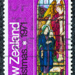 "NEW ZEALAND - CIRCA 1971: A stamp printed in New Zealand from the ""Christmas"" issue shows ""Annunciation"" Stained Glass Window from St Luke's, Havelock North, circa 1971. — Stock Photo"