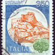 "ITALY - CIRCA 1980: A stamp printed in Italy from the ""Castles"" issue shows Mussomeli castle, circa 1980. — Stock Photo"