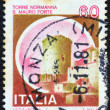 "ITALY - CIRCA 1980: A stamp printed in Italy from the ""Castles"" issue shows Norman Tower, San Mauro, circa 1980. - Stock Photo"