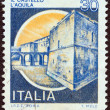 "ITALY - CIRCA 1980: A stamp printed in Italy from the ""Castles"" issue shows L'Aquila Castle, circa 1980. - Stockfoto"