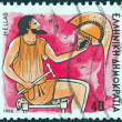"GREECE - CIRCA 1986: A stamp printed in Greece from the ""Gods of Olympus"" issue shows god Hephaestus, circa 1986. — Stock Photo #13251796"