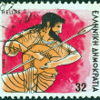 "GREECE - CIRCA 1986: A stamp printed in Greece from the ""Gods of Olympus"" issue shows god Ares, circa 1986. — Stock Photo #13251799"