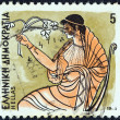 "GREECE - CIRCA 1986: A stamp printed in Greece from the ""Gods of Olympus"" issue shows goddess Hestia, circa 1986. — Stock Photo"