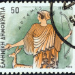 "Stock Photo: GREECE - CIRC1986: stamp printed in Greece from ""Gods of Olympus"" issue shows goddess Artemis, circ1986."