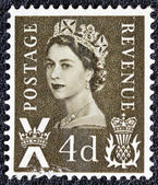 UNITED KINGDOM - CIRCA 1958: A postage stamp printed in Scotland shows a portrait of queen Elizabeth II, circa 1958. — Stock Photo