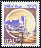 """ITALY - CIRCA 1980: A stamp printed in Italy from the """"Castles"""" issue shows Miramare castle, Trieste, circa 1980. — Stock Photo"""