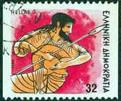"""GREECE - CIRCA 1986: A stamp printed in Greece from the """"Gods of Olympus"""" issue shows god Ares, circa 1986. — Stock Photo"""