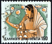 """GREECE - CIRCA 1986: A stamp printed in Greece from the """"Gods of Olympus"""" issue shows goddess Demeter, circa 1986. — Stock Photo"""