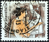 "GREECE - CIRCA 1986: A stamp printed in Greece from the ""Gods of Olympus"" issue shows god Apollo, circa 1986. — Stock Photo"