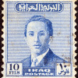 IRAQ - CIRCA 1954: A stamp printed in Iraq shows a portrait of King Faisal II, circa 1954. - Stock Photo