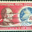 Stock Photo: US- CIRC1963: stamp printed in USissued for Centenary of Paris Postal Conference shows portrait of Montgomery Blair, Letters and Globe, circ1963.